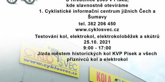 Pozvánka na Otevření 1. Cyklistického informačního centra jižních Čech a Šumavy CYKLOŠVEC a testování kol a elektrokol